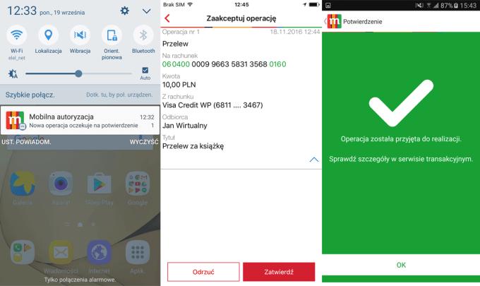 Mobilna autoryzacja w mBanku (krok po kroku - screen)