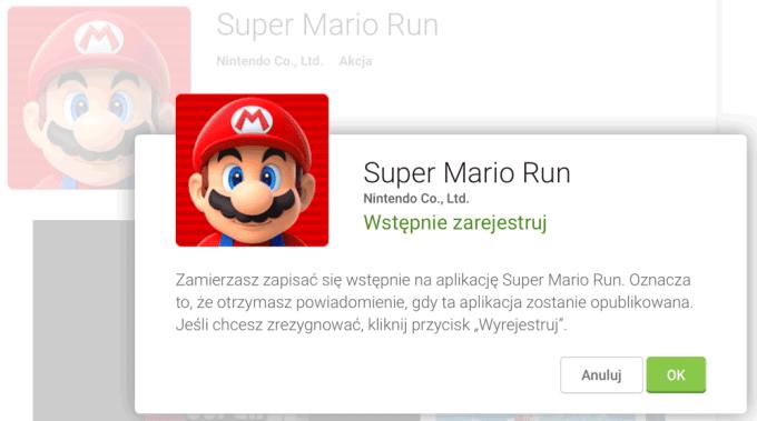 Wstępna rejestracja na Super Mario Run na Androida w sklepie Google Play