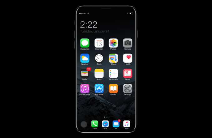 Ekran główny iPhone 8 (koncept)