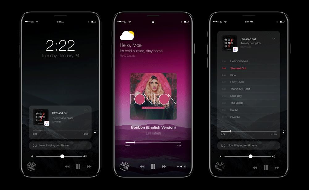 Apple Music - iPhone 8 (koncept)