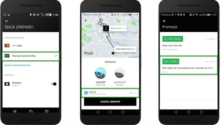 Płatność Androidem Pay w aplikacji Uber (50% taniej 10 przejazdów).