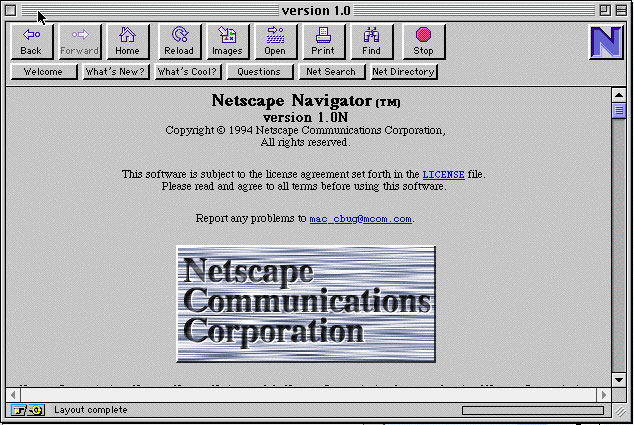 Przeglądarka Netscape Navigator ver. 1.0