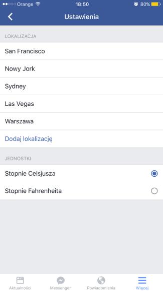 Ustawienia pogody w aplikacji Facebook (iOS)