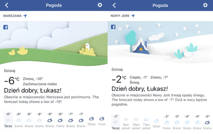 Prognoza pogody na Facebooku