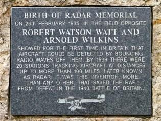 RADAR - tablica upamiętniająca Watson-Watt