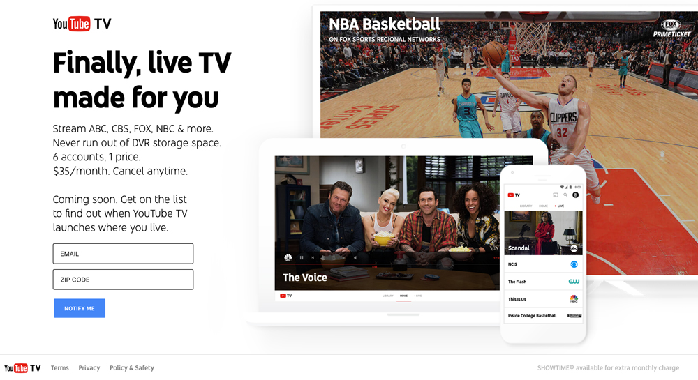 YouTube TV (landing page)