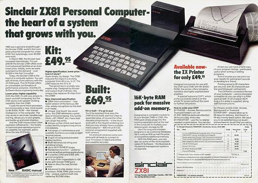 Sinclair ZX81 - reklama prasowa z 1981 roku