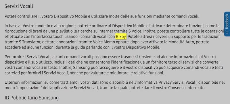Bixby na oficjalnej stronie Samsunga (Italy)