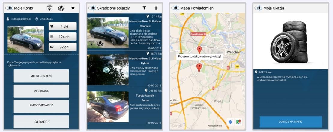 Zrzuty ekranu z aplikacji Car Patrol