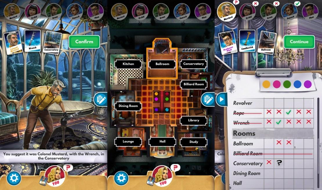 Zrzuty ekrany z gry mobilnej Cluedo/Clue