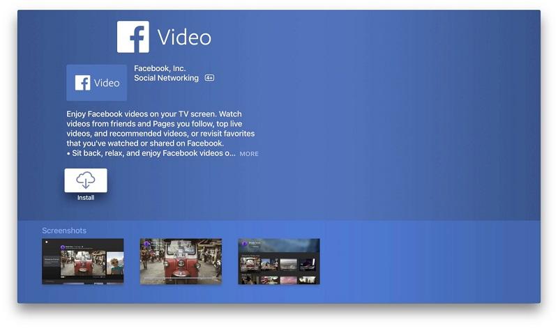 Facebook Video na Apple TV (App Store)