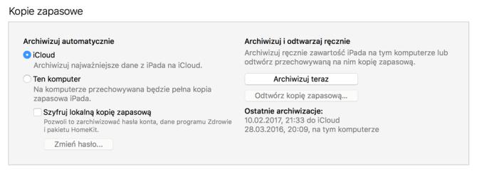 Tworzenie kopii zapasowej za pomocą programu iTunes