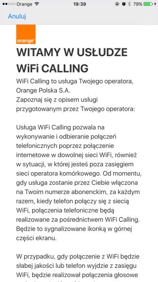 Orange Wi-Fi Calling na iPhone'ie w Orange