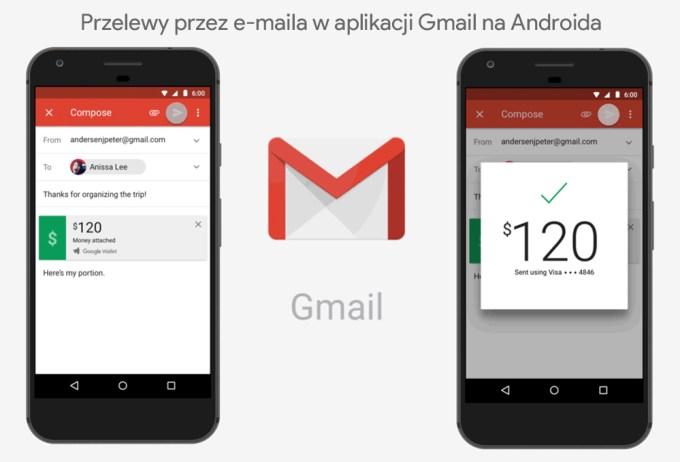 Przelewy przez e-maila w aplikacji Gmail na Androida