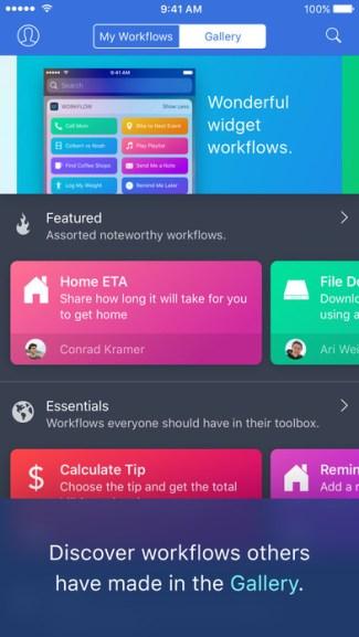 Screen aplikacji mobilnej Workflow