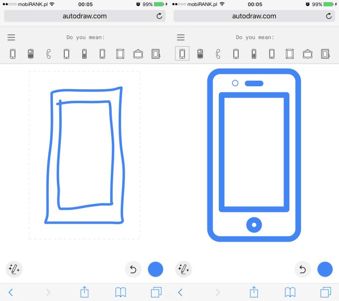 Przykład ryzunku w wersji mobilnej AutoDraw