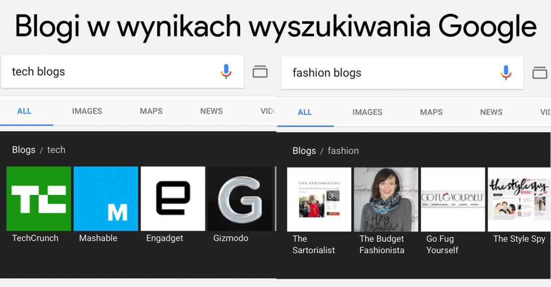 Wyniki wyszukiwania blogów w Google'u (mobile)