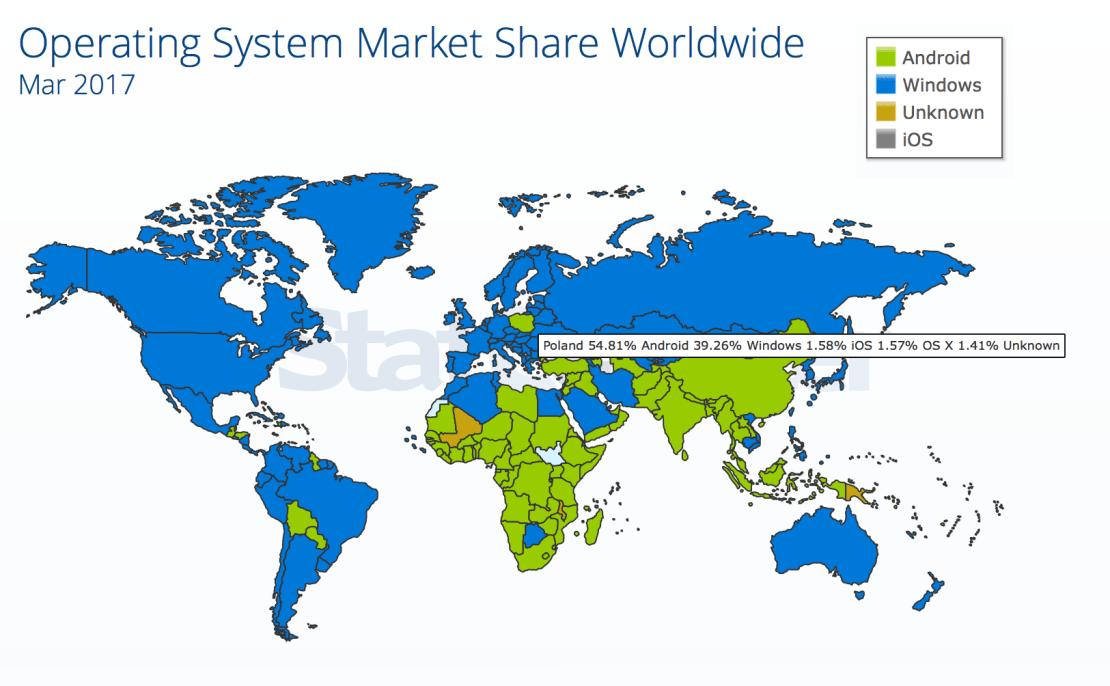 Mapa popularności systemów operacyjnych na świecie (marzec 2017)