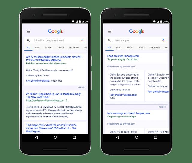 Weryfikacja faktów w wyszukiwarce Google (mobile)