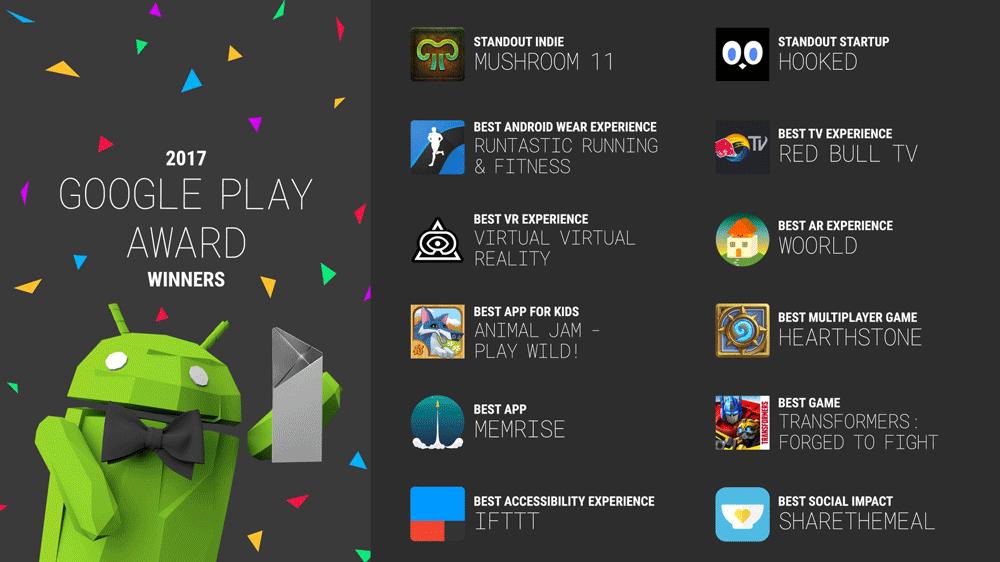 Google Play Awards 2017 - lista zwycięzców