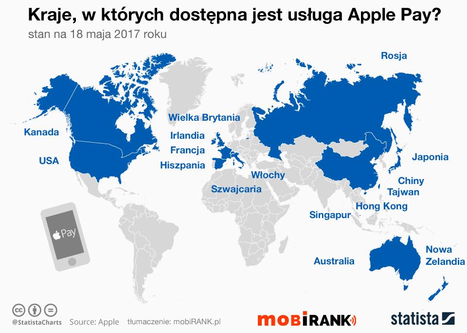 Mapa: Kraje, w których dostępna jest usługa Apple Pay (stan na maj 2017)
