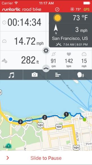 Screen z aplikacji Runtastic Road Bike GPS Cycling Route Tracker PRO