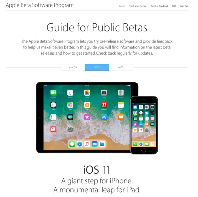 Guide for Public Betas - iOS 11 Apple