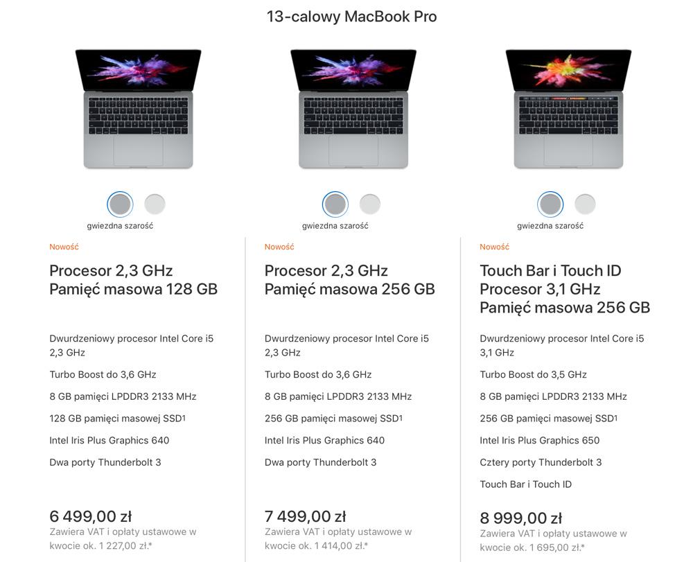 """Ceny i specyfikacja Macbooków Pro (13"""") 2017"""