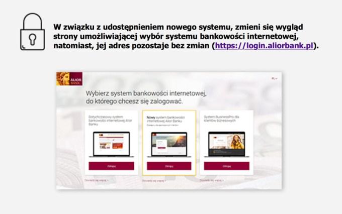 Nowy ekran logowania - Alior Bank (od 29 czerwca 2017)