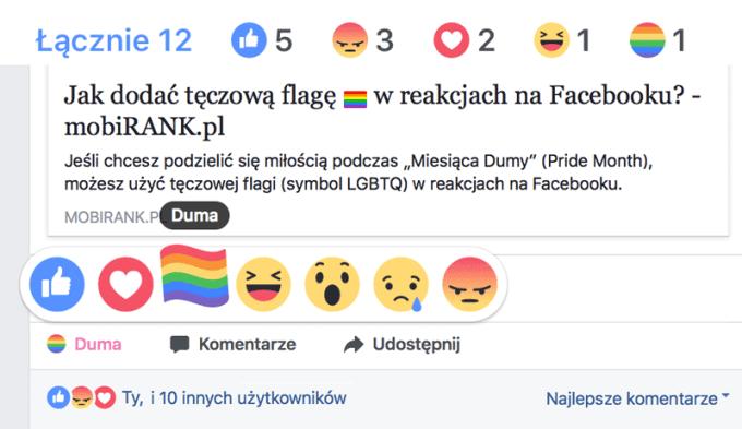 """Reakcja """"Duma"""" w polskiej wersji Facebooka"""