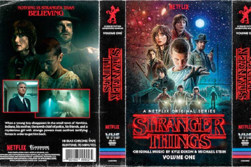 """Muzyka z serialu """"Stranger Things"""" na kasecie magnetofonowej w stylu retro"""