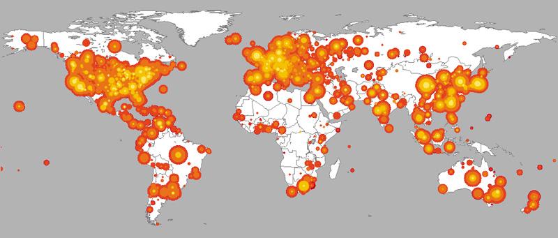Mapa ekspansji robaka Red Code (2001)