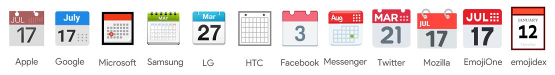 """Wygląd Emoji """"Kalendarz"""" pod różnymi systemami/aplikacjami"""