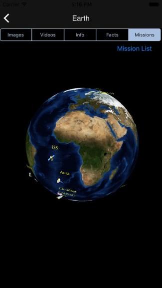 Oficjalna aplikacja mobilna NASA (screen iOS)