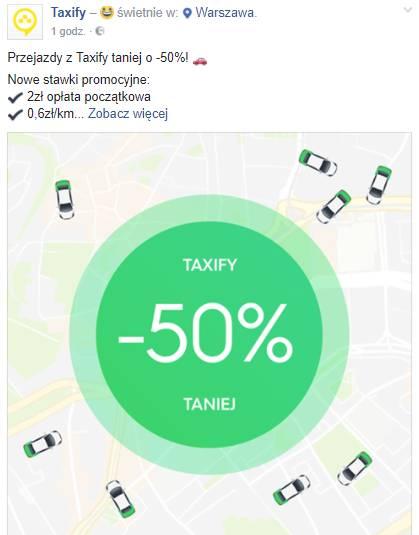 Taxify - 50% taniej za przejazdy w Warszawie przez Taxify