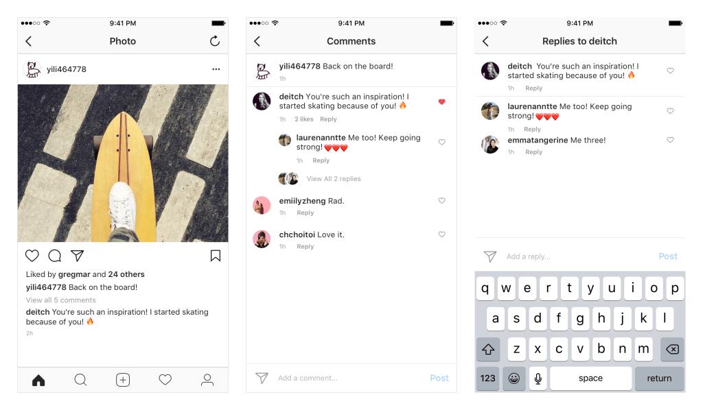 Wątki w komenatarzach - Instagram (screeny z aplikacji)