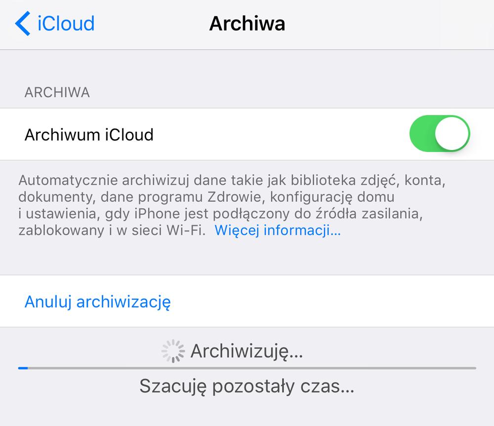 Tworzenie archiwum iCloud (iOS) - kopia zapasowa