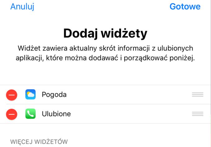 Dodaj/usuń widżety (iOS 11)