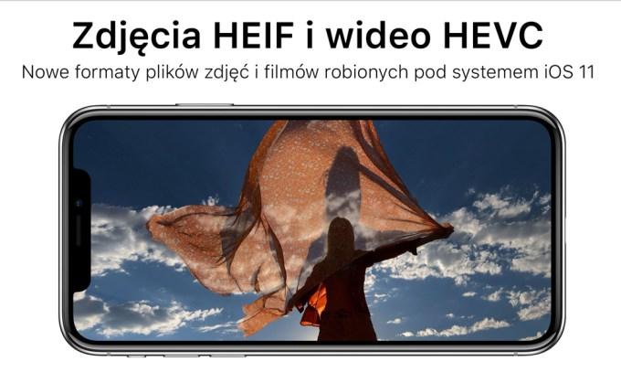 Nowe formaty plików zdjęcia HEIF i wideo HEVC (iOS 11)