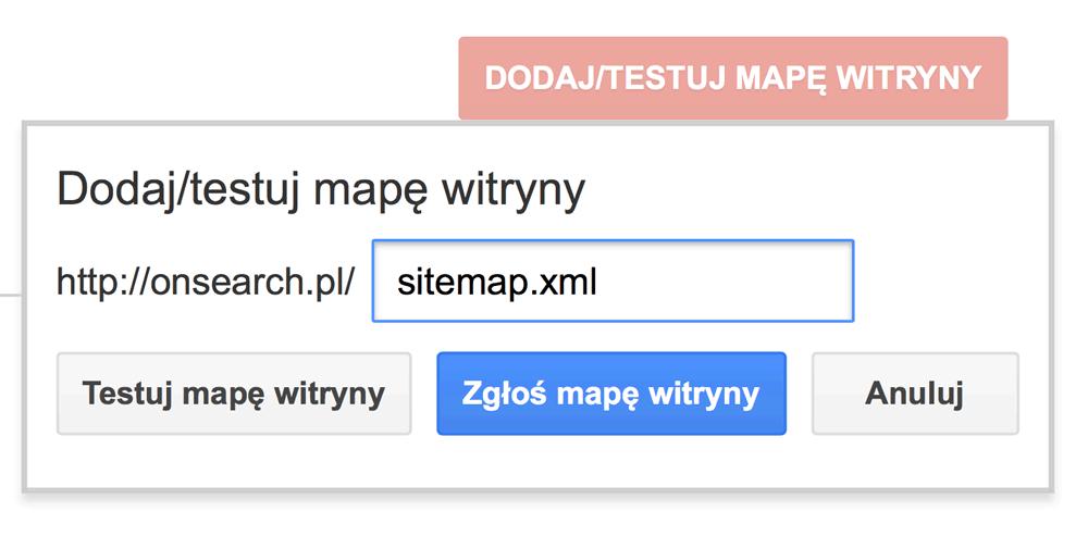 Dodawanie mapy witryny do Google Search Console