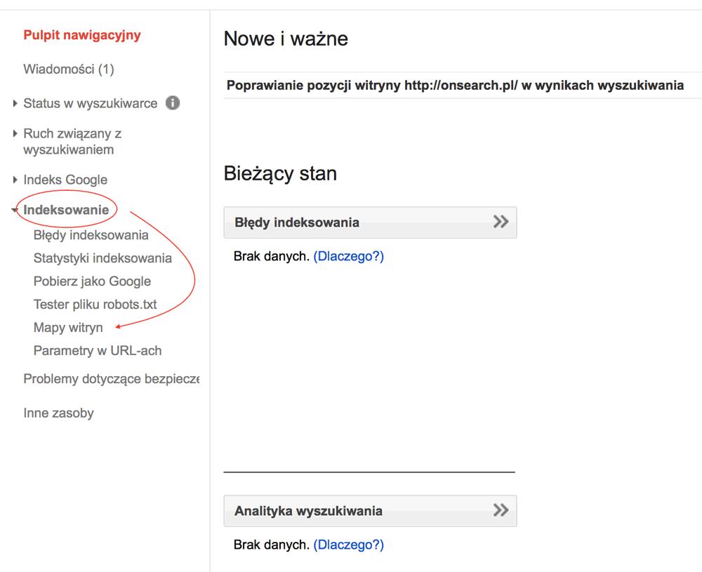 Dodawanie mapy witryny w Google Search Console