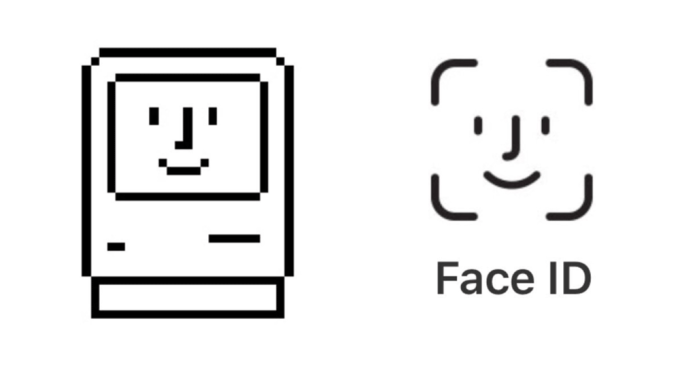 Ikona Happy Mac (po lewej) i ikona Face ID (po prawej)