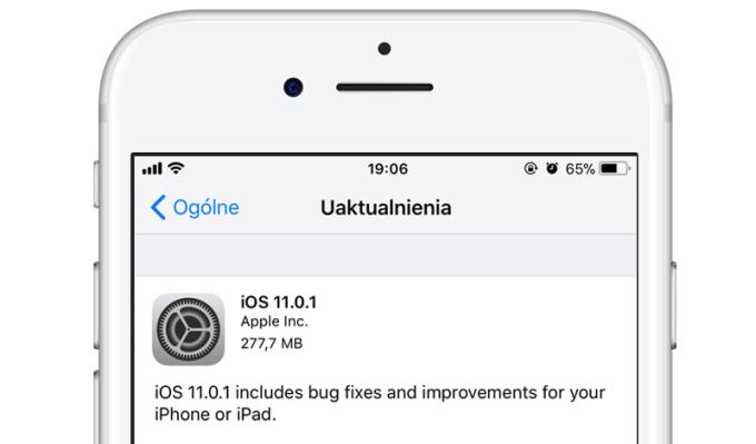 Uaktualnienie iOS 11.0.1 (iPhone, iPad)