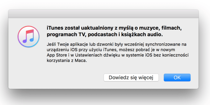 Uaktualnienie programu iTunes 12.7