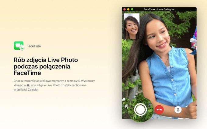 Zdjęcia Live Photos w Face Time (macOS 10.13)