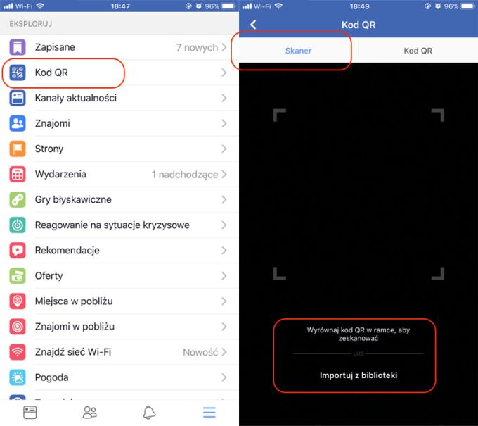 Funkcja Kod QR w aplikacji Facebook