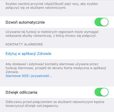Ustawienia SOS (iPhone, iOS 11)