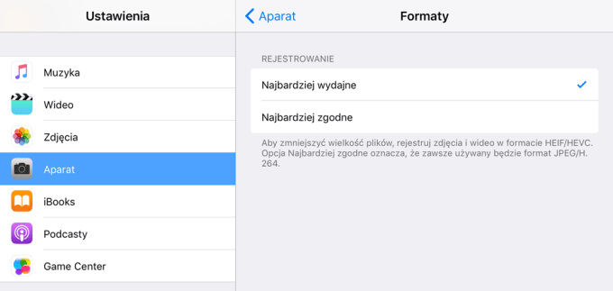 Ustawienia formatów zdjęć HEIF/HEVC pod iOS 11