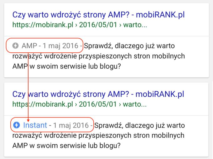 """Nowe oznaczenie """"Instant"""" dla stron AMP w mobilnych wynikach wyszukiwania"""