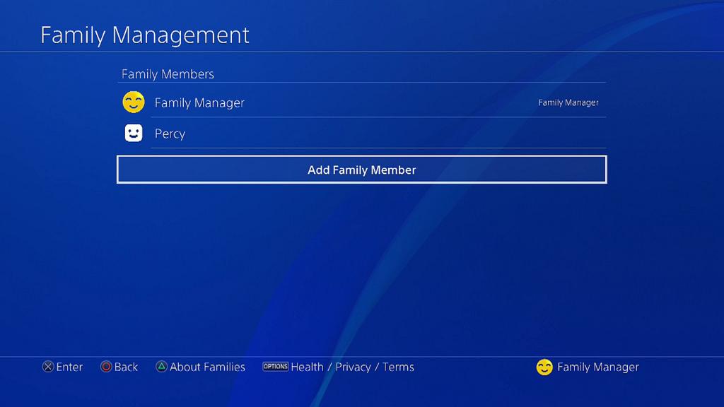 Dodawanie członków rodziny PS4